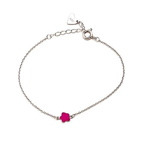 Pulsera plata Agatha Ruiz de la Prada 14cm. flor rosa [AB5801]