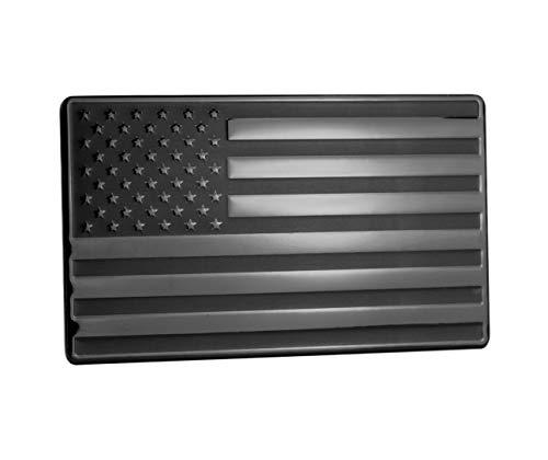 USA American Embossed Stainless Steel Metal Flag for Cars, Trucks Black 5'x3'