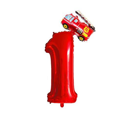 gzynyl Globos 2 unids 32 Pulgadas Rojas Número Globos Mini Plane Fire Truck Fire Balloons 1 2 3 4 5 6 7 8 9 AÑOS Decoraciones de Fiesta de cumpleaños Decoraciones para niños Juguetes (Color : 26)