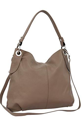AMBRA Moda bolso de las mujeres, bolso de mano,bolso de hombro, shopper GL012 (Color arena)