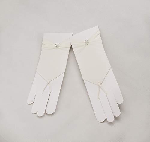 Zauberkutsche Brauthandschuhe fingerlos Braut Handschuhe Perlen Hochzeit Weiß Ivory Satin Stulpen (Ivory) - 2