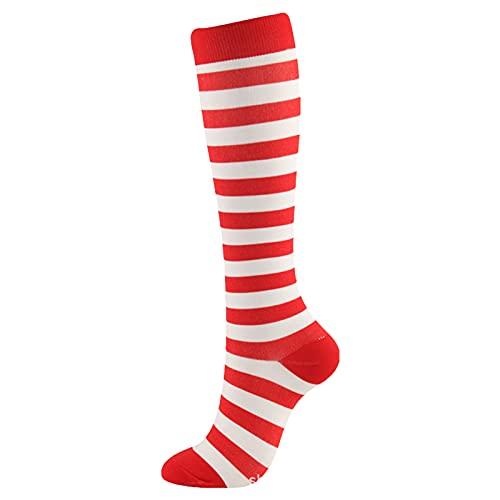 Woohooens Weihnachtsmuster KompressionsstrüMpfe FüR Damen Und Herren Kompressionssocken StüTzstrüMpfe ThrombosestrüMpfe Socks Wattepad Sport Freizeit Socken Socken FüR Damen