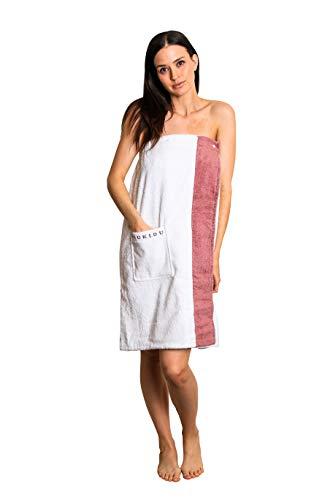 Loukidu-Saunakilt-Damen-weiß-Rosa [SAUNAKILT] 100% BIO-Baumwolle | Wellness Saunakleid Damen | Saunasarong gummizug mit druckknöpfen (Weiß/Rosa, 76 x 144 cm)