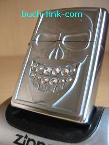 Zippo Briquet Smiley Skull avec pierres blanches