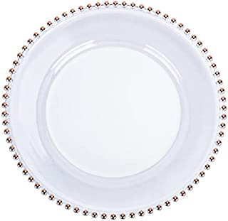 Set of 6 Heavy Quality Acrylic Clear Charger Plates with Rose Gold Designed Rim (33cm) ~ Elegant Plastic Tableware Décor S...