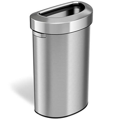 iTouchless - Papelera semicircular de 23 galones con parte superior abierta y cubo de reciclaje, 87 litros, diseño delgado y que ahorra espacio para el hogar, oficina, cocina,...