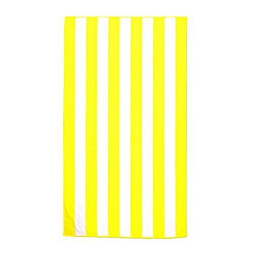 9302sonoaud Serviette de Plage rayée à séchage Rapide Serviette de Plage Microfibre Sable Chiffon Doux pour Le Bain Jaune