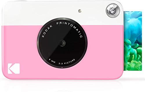 Kodak Printomatic Digital-Sofortdruckkamera - Vollfarbdrucke auf ZINK 2 x 3 Zoll Fotopapier mit klebriger Rückseite (pink) Druckspeicher sofort (USB nicht im Lieferumfang enthalten)