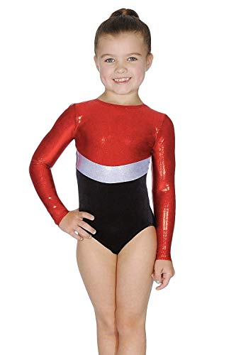Roch Valley Rio - Maillot de gimnasia de manga larga (5 a 6 años), color rojo, plateado y negro