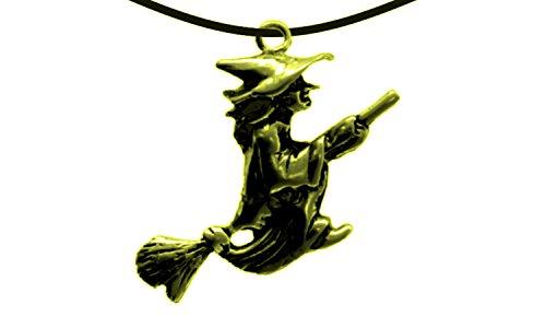 Erlebnis Mittelalter - Tier und Fantasie Anhänger (Anhänger Hexe auf Besen Gold)