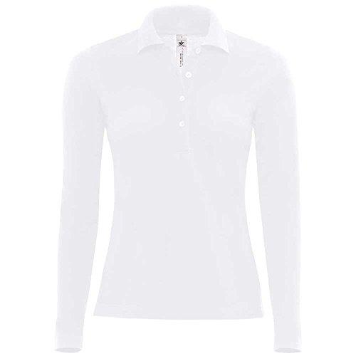 B&C Polo à manches longues pour femme Safran Blanc blanc XL - UK 16