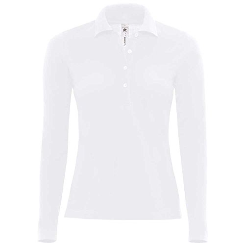 B&C Poloshirt, Langarm, für Damen, Safran M Blanc - blanc