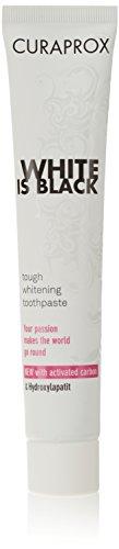CURAPROX White is Black Set für weiße Zähne, Zahnaufhellung mit schwarzer Zahnpasta aus Aktivkohle, whitening toothpaste, 1x Zahnbürste und Zahnpasta 90ml