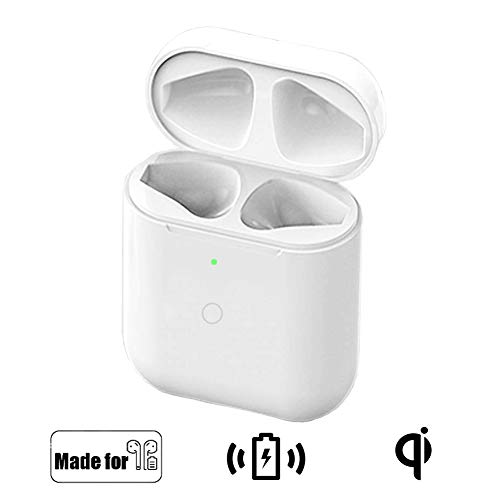 NeotrixQI Qi Reemplazo de la caja estuche de carga inalámbrica Compatible con AirPods 1 2, Tapa protectora Batería incorporada 5 veces carga completa con botón de sincronización bluetooth(blanco)