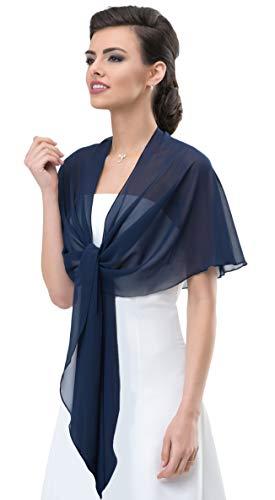 Chiffon Stola Chiffonschal perfekt zu jedem Brautkleid - Abendkleid, Hochzeit Abend Gala Empfang - RUTSCHT NICHT - MARINEBLAU (tiefes, sehr dunkles Blau - Nachtblau) - ca. 245cm lang