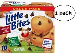 Entenmann's Little Bites Chocolate Chip Mini Muffins made with Real Chocolate, 10 Pouches, 16.5 oz (Pack of 1)