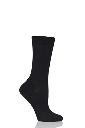 Pantherella Damen 1 Paar Klassische Merinowolle Gerippte Socken Schwarz 4-8 Damen