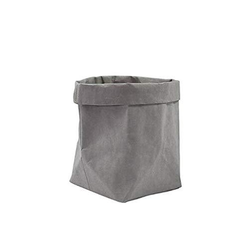 UCTOP STORE 20 x 20 x 35 cm - Sac en papier kraft réutilisable et lavable - Pour pots de fleurs - Organiseur créatif pour la maison - Sac de rangement pour bijoux, fruits, bonbons, fleurs (gris)