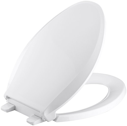 KOHLER K-4636-0 Cachet Elongated White Toilet Seat, with Grip-Tight Bumpers,...
