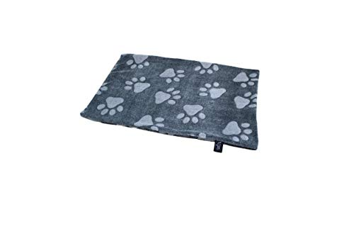 HS-Hundebett hochwertige Hundedecke in 3 Größen I Made in Germany - waschbar bei 40°C - trocknergeeignet I weiche Kuscheldecke für große & kleine Hunde I Pfote Anthrazit 45 x 65 cm