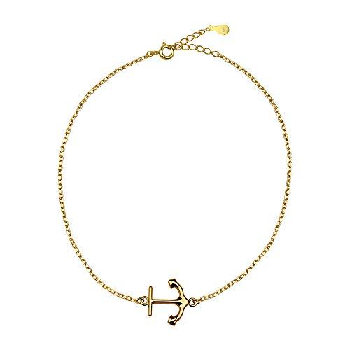 SOFIA MILANI - Damen Armband Anker Anhänger - Aus echtem 925 Sterling Silber - Vergoldet 30230