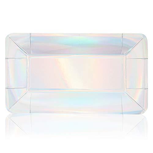 Juvale rechthoekig papier partij voorgerecht borden, Holografische folie (24 Pack)