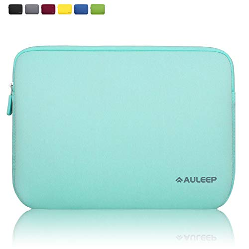 AULEEP 13-14 Inch Laptop Sleeves, Neoprene Notebook Computer Pocket Tablet Carrying Sleeve/ Water-Resistant Compatible Laptop Sleeve for Acer/Asus/Dell/Lenovo/HP, Light Green