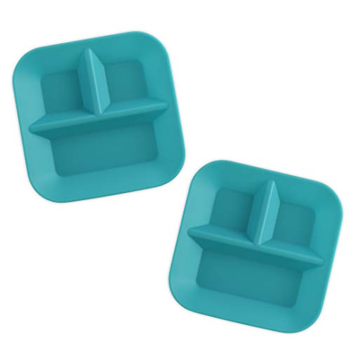 KIDDIEBITES | 100% Silicone Plates for Babies & Kids | Made in The USA | BPA, BPS, Lead, Cadmium, PVC, Phthalate Free | Children's Divided Placemat Set | Teal, 2 Pack