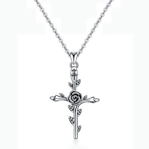 OlovdHit Jewelry-Gifts-Necklaces Halskette Damen Halskette 925 Damen Kette Silber Rosenkreuz Anhänger Lange Halskette Silber Zu Weihnachten Geschenk Valentinstag Jubiläum