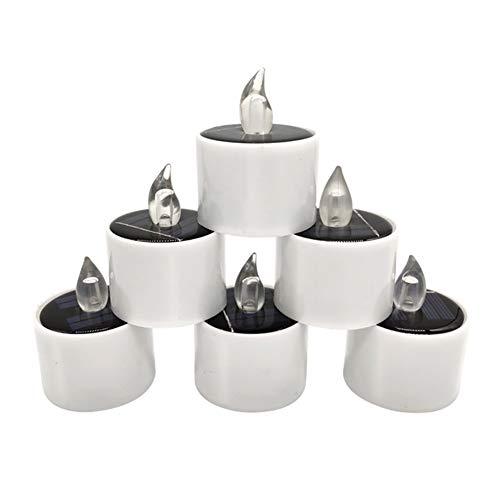 Maxte 6 velas LED solares electrónicas para Halloween, pequeñas velas de té, sin humo, para el hogar o restaurante