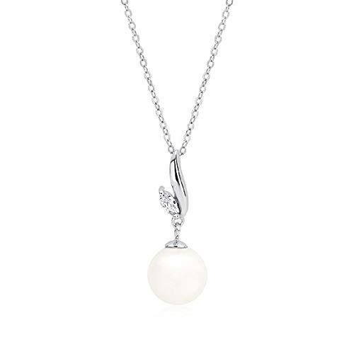Beforya Paris** – Collana – * Perle di bellezza * – Argento 925 – * Crema * – Ciondolo con perle e zirconi di Swarovski® – Bella collana da donna con cofanetto PIN/75