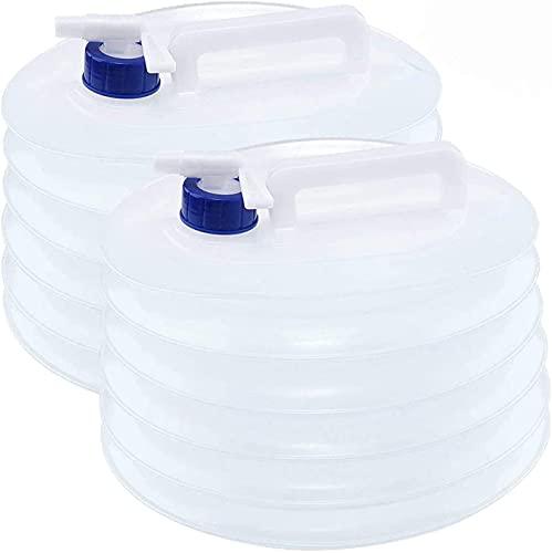 Recipiente Agua Plegable, BKJJ 2 piezas 15L Bidón Plegable para Agua, Contenedor Plegable Agua con Grifo, Portátil Almacenamiento Agua para Senderismo Camping Picnic Travel BBQ