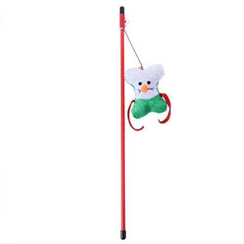 Seawang Cartoon kat Teaser veren hout staaf bel huisdieren spelen pesten speelgoed geschenken, Groen