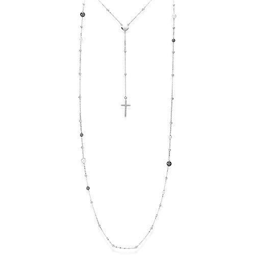 AMEN COLLANA lunga doppio filo Perle Croce CL2PB