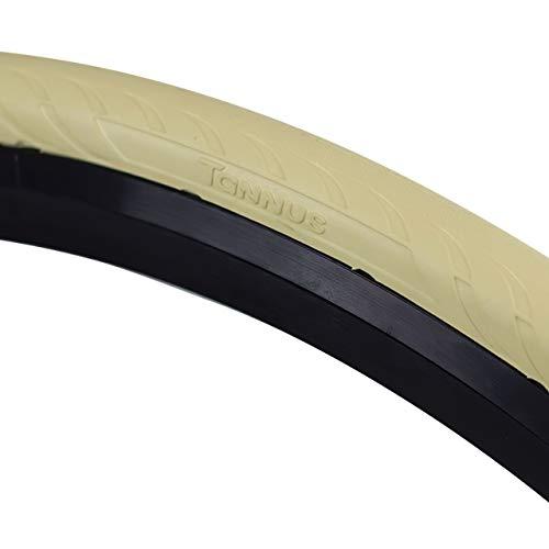 Tannus Tire Cubierta 700x25c (25-622) New Slick | Neumático 100% Antipinchazos Bici Carretera, Color Sahara (Beige), Dureza Regular