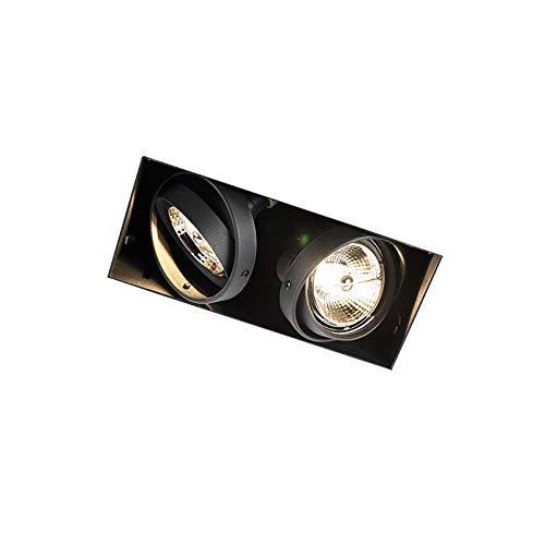 QAZQA Faretto da incasso oneon trimless 70 - Moderno - Acciaio - Nero - Allungato Max. 2 x 50