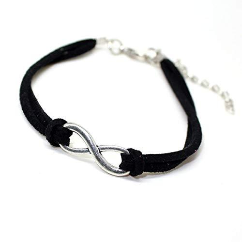 Zhaodong Belle 20pcs argent plaqué bracelets en cuir infinity chance 8 bracelets femmes charme bracelet bijoux (noir) Zhaodong (Color : White)