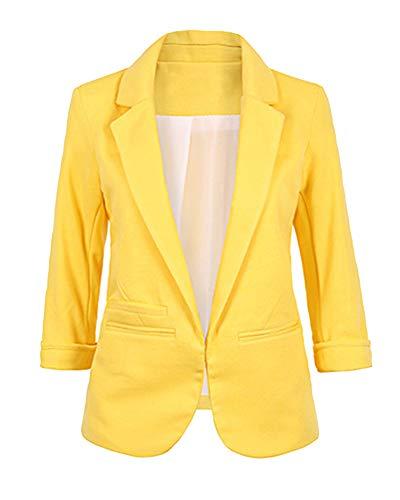 Damen Elegant Anzugjacke Blazer Sakko Basic Cardigan Jacke Slim Fit Gelb L