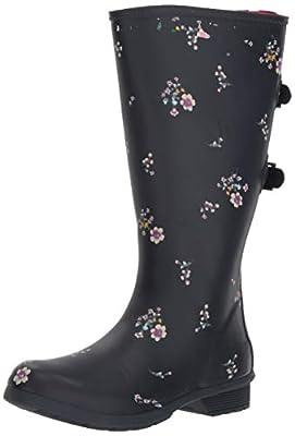 Chooka Women's Wide Calf Memory Foam Rain Boot, Navy, 7 M US