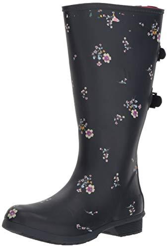 Chooka Women's Wide Calf Memory Foam Rain Boot, Navy, 8 M US