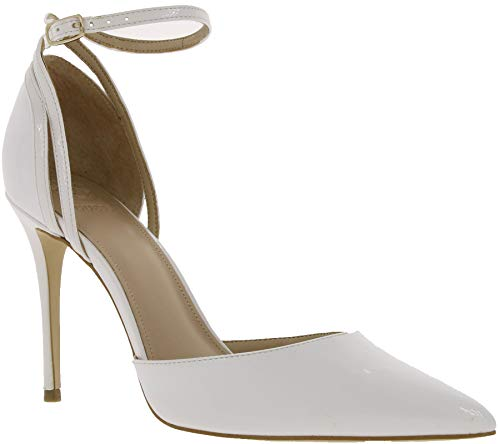Guess Schuhe Pumps Elegante Damen Absatzschuhe mit Schnalle Abendschuhe High Heels Weiß, Größe:40