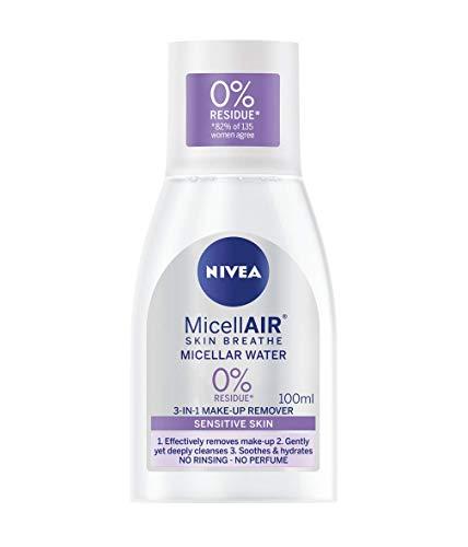 NIVEA MicellAIR Skin Breathe Micellar Water (100ml), 3 in 1 Sensitive Make Up Remover, Mizellar Reinigungswasser, Sanfte Feuchtigkeitspflege für Frauen