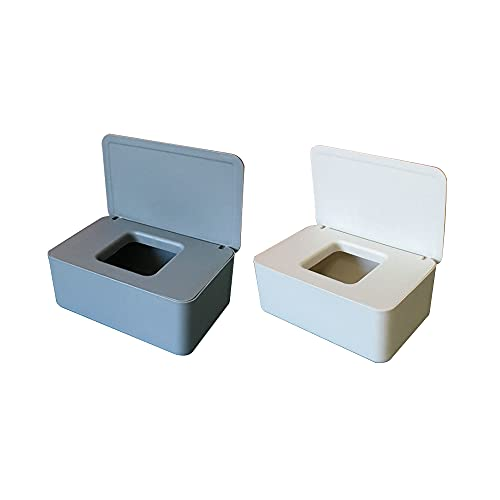Select Zone Caja para pañuelos de papel cosmético, 2 unidades, rectangular, caja para toallitas húmedas, caja de almacenamiento con tapa para coche, oficina o baño (combinación A (gris + blanco)