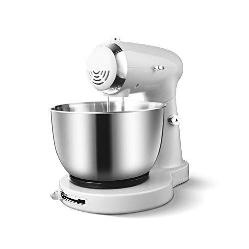 PUBJ Küchenmaschine 350W Mit 3,2L Edelstahl-Rühlschüssel, Rührbesen, Knethaken, Schlagbesen Und Spritzschutz, 5 Geschwindigkeit Geräuschlos Teigmaschine,Zwei Farben,White