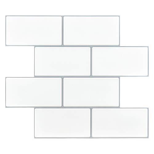 Art3d 14'x12' EVA Self-Adhesive Backsplash Tiles, Faux Ceramic Tiles, Matt (10 Tiles, Thicker Version)