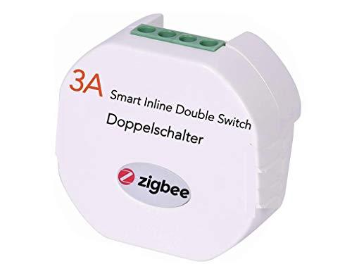 Interruptor de luz doble en línea inteligente ZigBee para actualizar el interruptor simple o doble normal con el control de voz y la automatización del hogar del Asistente de Google de Alexa