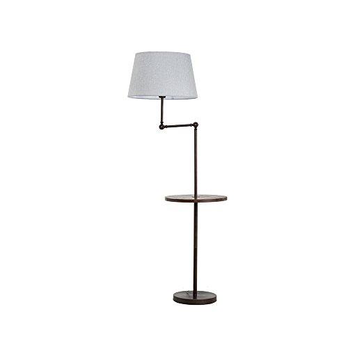 Global- American Country Style Lampe en fer Lampe en tissu de corps E27 Bouton poussoir Lampadaire (Couleur : Gris)