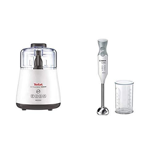 Tefal DPA130 La Moulinette Elektrischer Zerkleinerer (1000 Watt, Behälterkapazität: 330 g, inklusive Kabelverstaufach) weiß & Bosch MSM66110 ErgoMixx Stabmixer, Kunststoff, weiß/telegrau