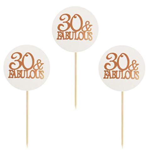 24 Pack of Rose Gold Foil 30 and Fabulous Cupcake Toppers 30th Birthday Party Cupcake Toppers Numberquot30quot Cupcake Toppers