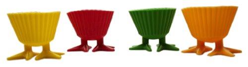 ユーロキッチン 足付きシリコンひよこマフィンカップ (イエロー、ピンク、グリーン、オレンジ各一個セット) HSPT3478